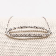Open Oval Diamond Fine Trace Bracelet