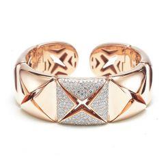 Pierced pave set diamond bracelet