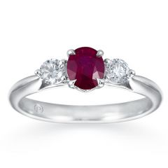 Classic Ruby 3 Stone White Gold