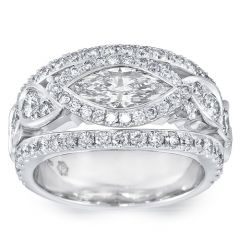 Marquise Ornate Wide Band