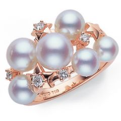 Six Pearl and Star Ring