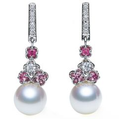 Pink Sapphire and Pearl Earrings