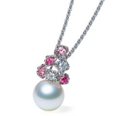 Pink Flower and Pearl Pendant