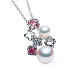 Pink Sapphires and Pearl Pendant