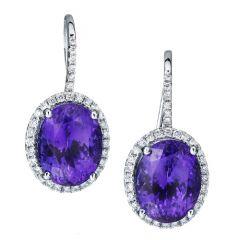 Tanzanite Halo Hook Earrings