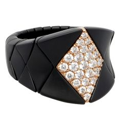 Matt Ceramic Stretch Ring Brown Diamond Feature