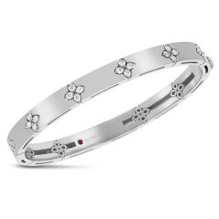 Love in Verona Wide White Gold Bangle