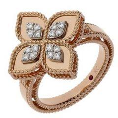 Princess Flower Rose Gold and Diamond Ring