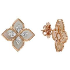 Princess Flower Mother of Pearl and Diamond Stud Earrings