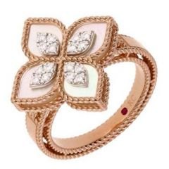Princess Flower Mother of Pearl and Diamond Ring