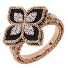Princess Flower Black Jade and Diamond Ring