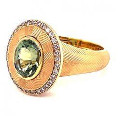 Green Tourmaline Tweed Ring