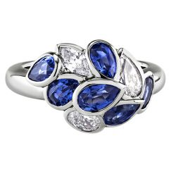 White Gold Sapphire Leaf Ring