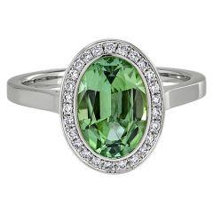 Oval Green Tourmaline Halo Ring