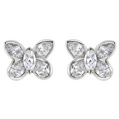 Butterfly Earrings White Gold