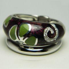 Purple & Green Enamel Diamond Wide Stacker Ring