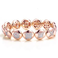 Fiore Rose Gold Button Bracelet